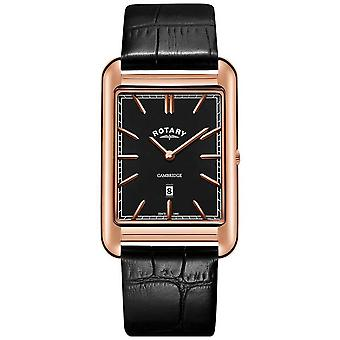 Rotary Mens Cambridge Rose Gold Square Black Leather Strap GS05284/04 Watch