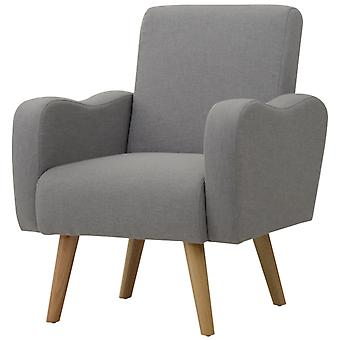 HOMCOM Nordic Armchair Solid Wood Curved Chair Living Room Linen