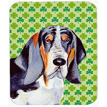 Basset Hound St. Patrick's Day Shamrock Portrait Mouse Pad, Hot Pad or Trivet