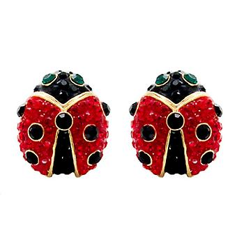 Butler and Wilson Small Crystal Ladybird Stud Earrings