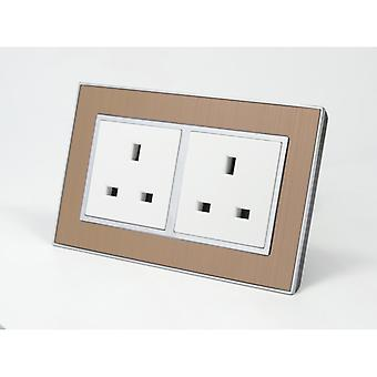 I LumoS AS Luxury Gold Satin Metal Double Unswitched Wall Plug 13A UK Sockets