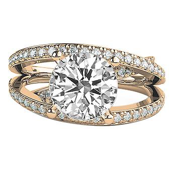 1.7 carat F SI1 Diamond Engagement Ring 14K złoto Solitaire Rose w akcenty Multi Band 3 zespołów