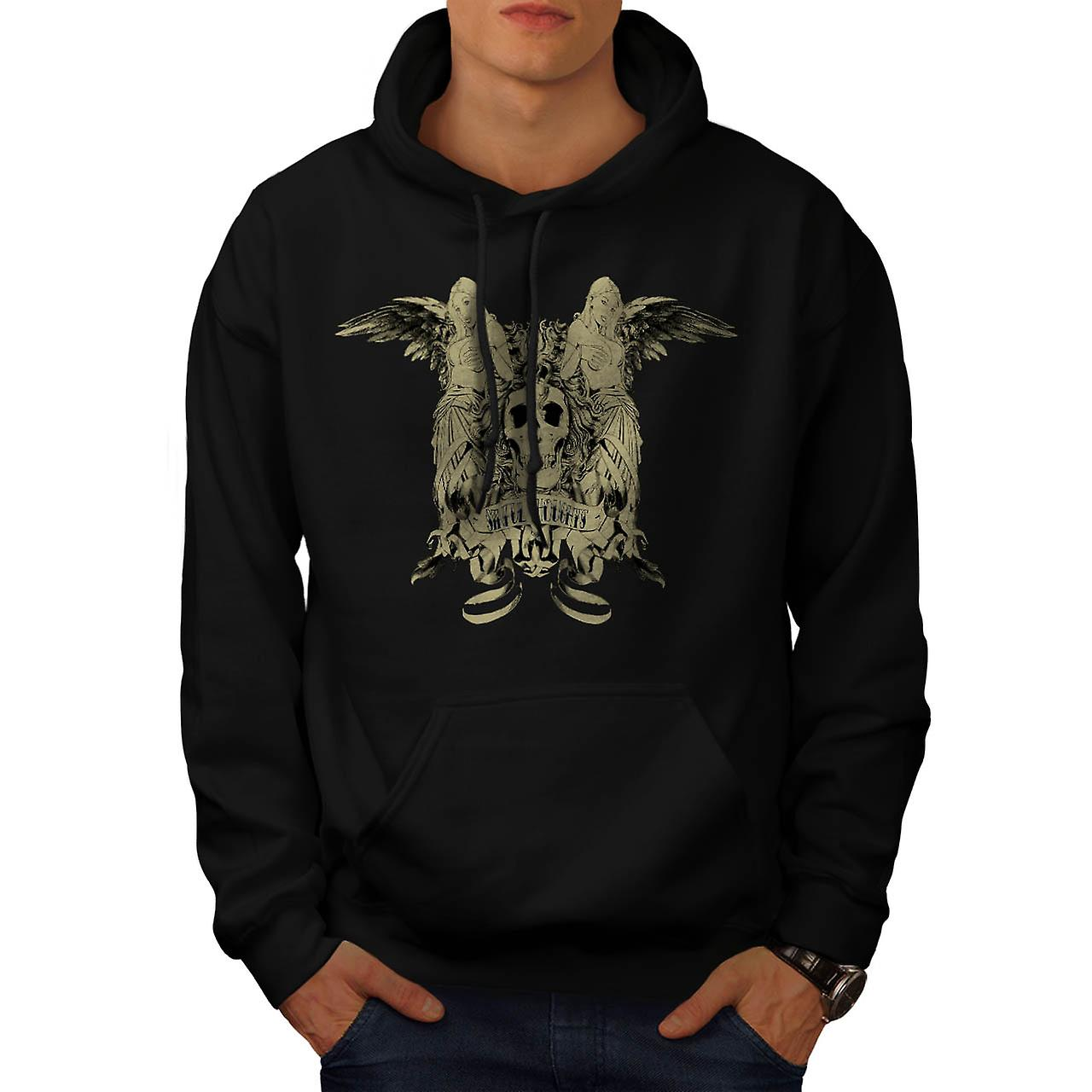 Sinful Thoughts City Skull Angel Men Black Hoodie | Wellcoda