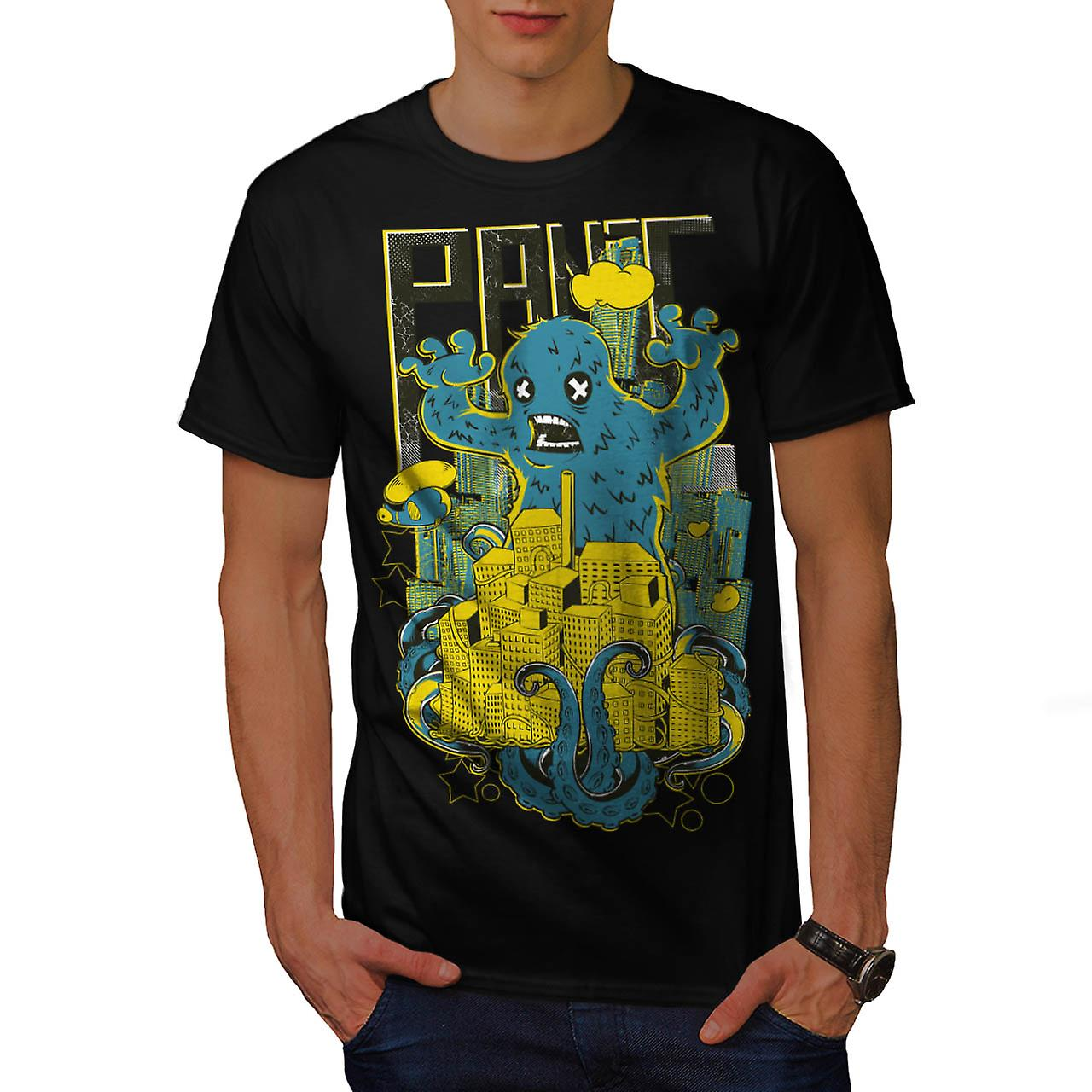 Panic City Monster Chaos Life Men Black T-shirt | Wellcoda