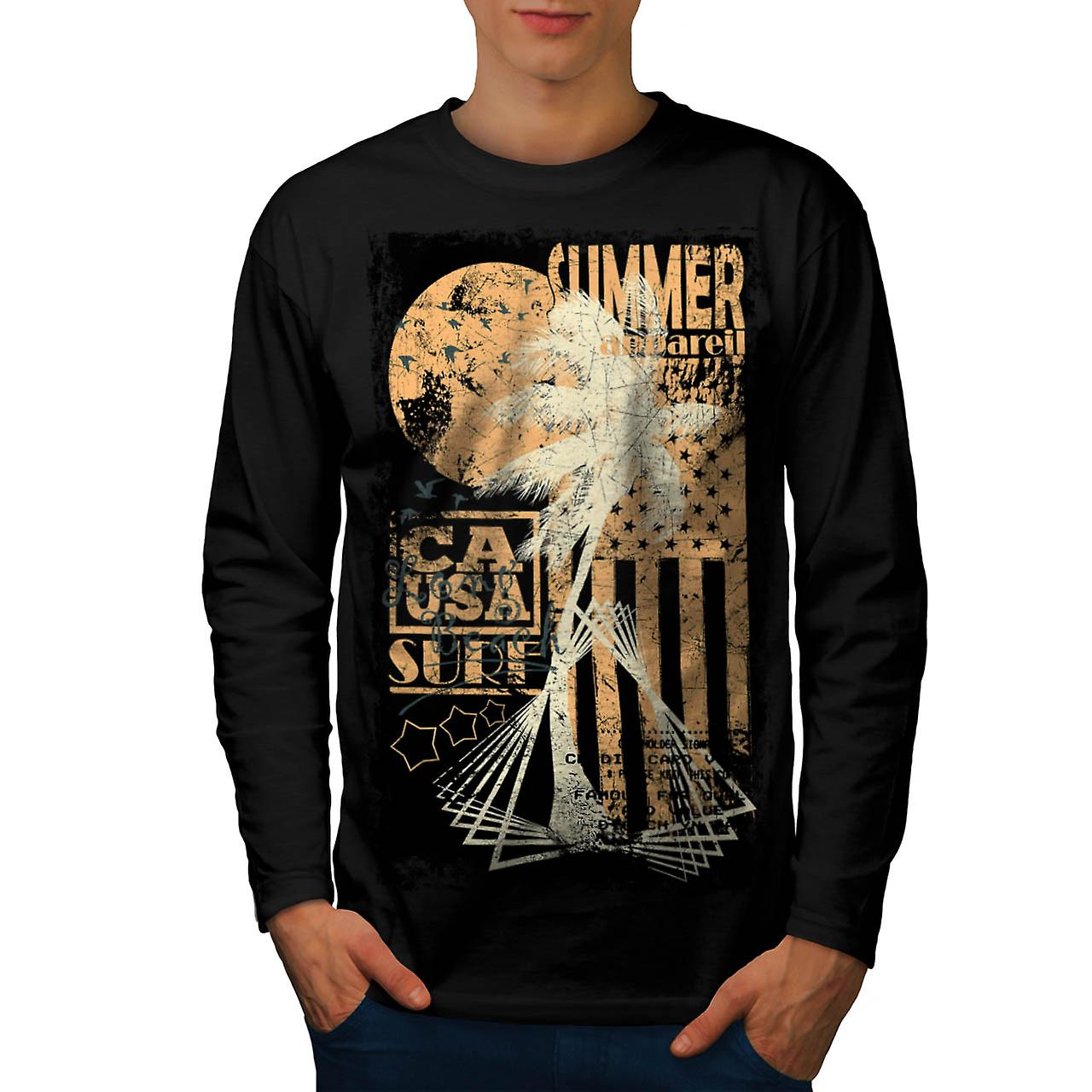 Summer Surfer Apparel California Men Black Long Sleeve T-shirt | Wellcoda