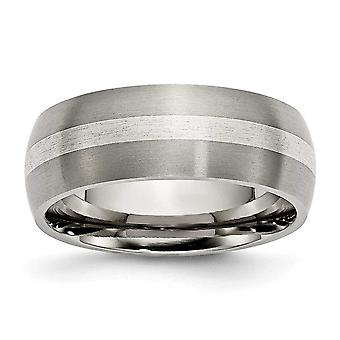 Titanium Sterling Silver Inlay 8mm Brushed Band - Size 13.5