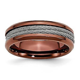 RVS gepolijst Engravable bruine IP-verguld kabel en Brown IP-Plated 7mm Band Ring - Ringmaat: 7 tot en met 12