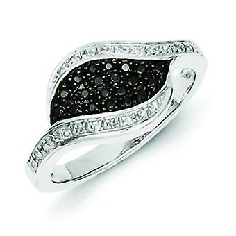 Sterling Silver Black Diamond Fancy Marquise Ring - Ring Size: 6 to 8