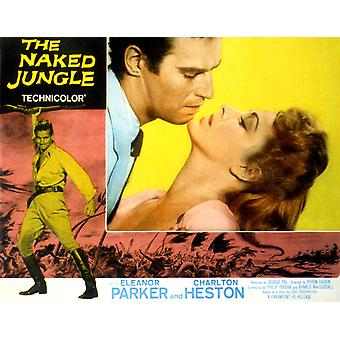 Den nakna Jungle Charlton Heston Eleanor Parker 1954 film affisch Masterprint