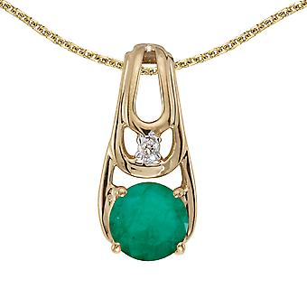 10k Yellow Gold Round Emerald And Diamond Pendant with 16