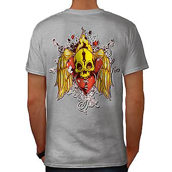 Flaming Heart Skull Love Burn Men Grey T-shirt Back | Wellcoda