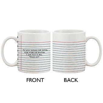 Tazza di caffè in ceramica divertente con dichiarazione grassetto - grazie, insegnante
