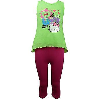 Girls Hello Kitty Sleeveless T-shirt / Top & 3/4 Leggings Set