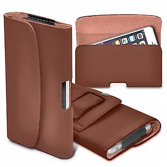i-Tronixs - Wiko Jerry (5 inch) horizontale Faux leder riem Holster Case Cover - Brown
