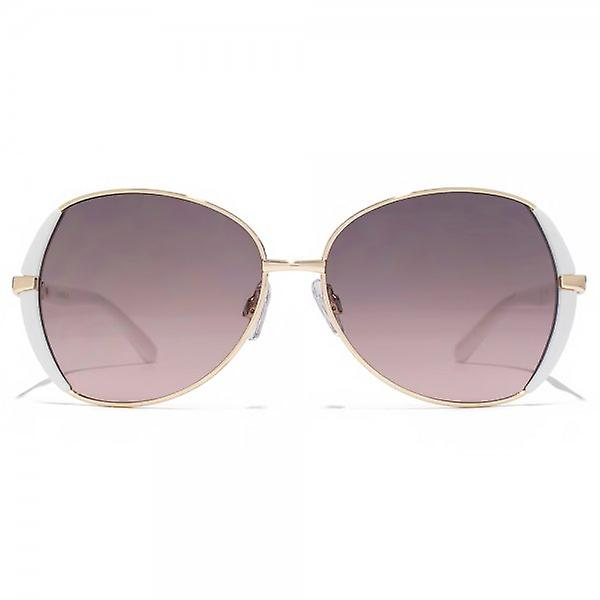 Carvela Metal Butterfly Sunglasses In Rose Gold & White