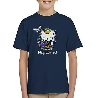 Hey Listen Link Hello Kitty Zelda Kid's T-Shirt