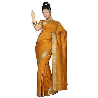 Sennep kunst silke Saree Sari stof Indien gylden kant