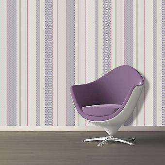 Amaya Stripe Wallpaper Geometric Modern Luxury Heather Plum Holden Decor