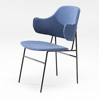 Wellindal 52x58x78 Black Metal Chair and Blue Fabric