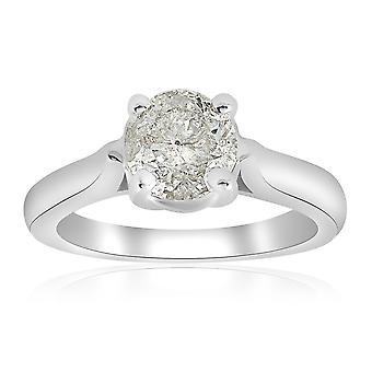 1 1/2 ct пасьянс алмаз обручальное кольцо 14K Белое золото