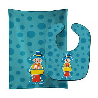 Carolines Treasures  BB8703STBU Circus Clown #2 Baby Bib & Burp Cloth