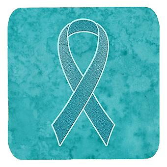 Set of 4 Teal Ribbon for Ovarian Cancer Awareness Foam Coasters