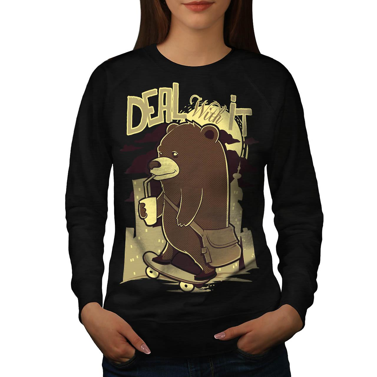 Deal It Bear Funny Women Black Sweatshirt | Wellcoda