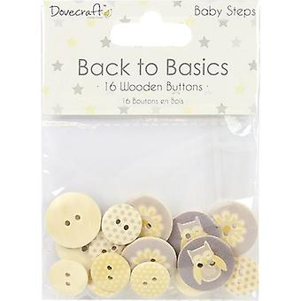 Dovecraft Back To Basics Wooden Buttons 16/Pkg-Baby Steps DCBTN019