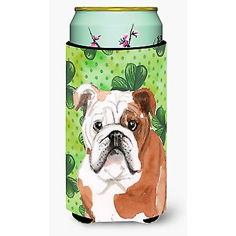 English Bulldog St. Patrick's Tall Boy Beverage Insulator Hugger