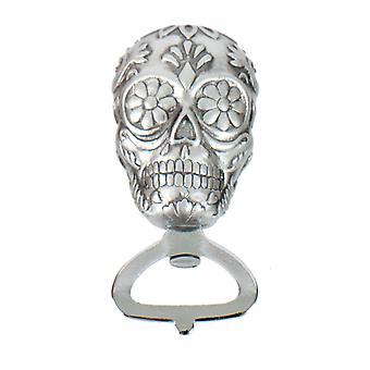 Sukker kraniet Day of Dead præget sølv oplukker 4 Inches