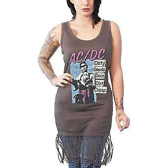 AC/DC Vest Dirty Deeds Done Cheap Logo Official Womens Dress Top with Tassels