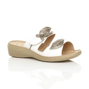 Ajvani womens low mid wedge heel comfort sandals mules flip flops