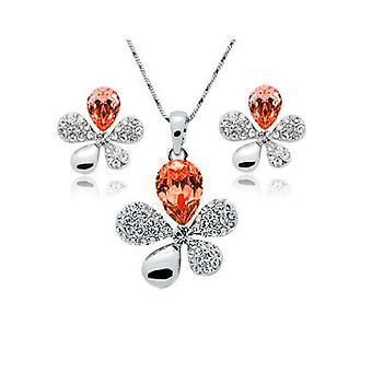 Orange Flower Petal Leaf Earrings and Necklace Set
