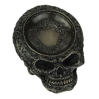 Antikke Bronze Finish menneskelige kranium dekorative parabol