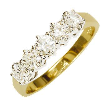 Shipton y Co las señoras Shipton y Co exclusivo 18 quilates amarillo oro tres cuartos Carat garra Set 5 piedra diamante media eternidad RingS07852DI