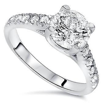 2 1 / 5ct katedralen forbedret runde Cut Diamond Engagement Ring 14K hvidguld