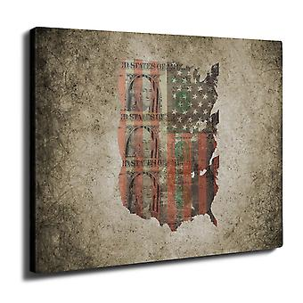 Benjamin Dollar Flagge USA Wall Art Leinwand 50 x 30 cm | Wellcoda