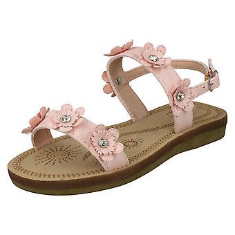 Girls Spot On Slingback Flowery Sandals H0292 - Pink Synthetic - UK Size 13 - EU Size 32 - US Size 1