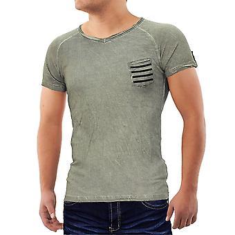 Mens T-Shirt v-ringning Polo Sport Club bära skjorta Slim Aztec bröstficka