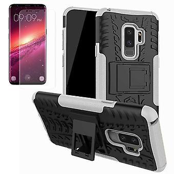 Hybrid case bag 2 piece SWL white for Samsung Galaxy S9 plus G965F + TPU tank protector