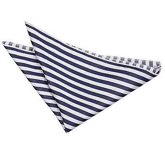 White & Navy Blue Thin Stripe Pocket Square
