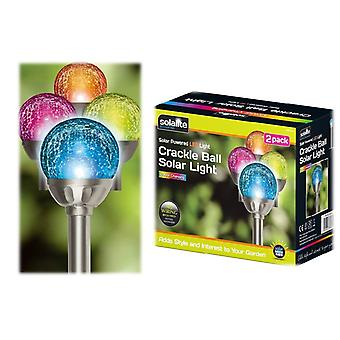 2 X Solar Powered Colour Changing Crackle Ball Stake Light Ice Oorb Globe