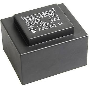 PCB mount transformer 1 x 230 V 2 x 6 V AC 10 VA 833 mA PT481202 Gerth