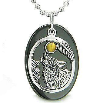 Amulet mod Howling Wolf Moon heldige charme i sort Onyx Tiger øje vedhæng halskæde