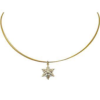 Gemshine - damas - collar - pendientes - copo de nieve - plata 925 - oro - 2 cm
