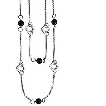 Collier 2-row stainless steel with black agate necklace 55 cm necklace