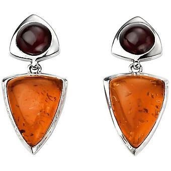 Början Amber och Garnet Multi form droppe örhängen - Amber/Silver
