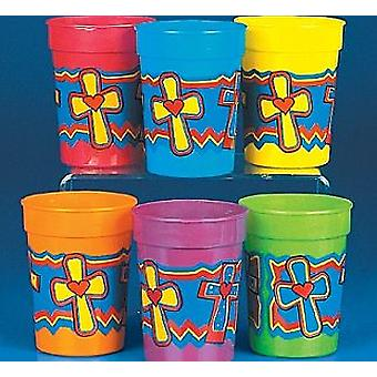 12 religieuze Christian Cross thema Plastic partij bekers | Kids Party Cups