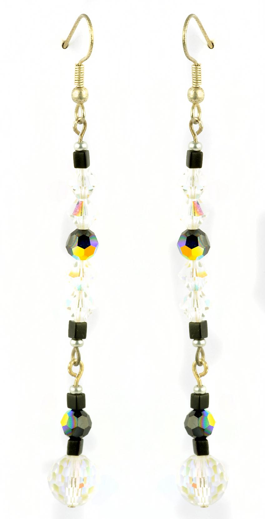Waooh - Fashion Jewellery - WJ0765 - On Earrings with Swarovski Black & White Transparent - Frame Color Silver