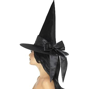 Deluxe Witch Hat, Black, with Black Bow